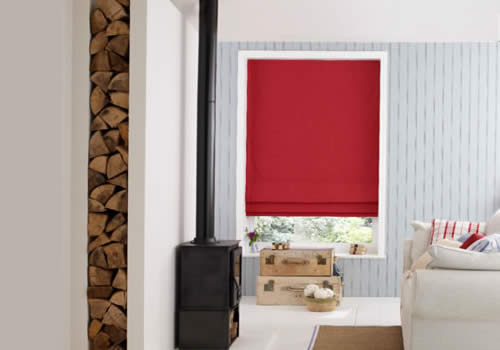 Roman blinds in chambray ruby