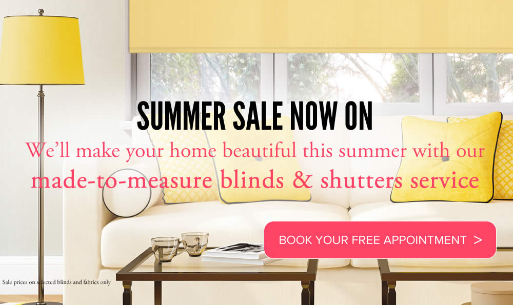 Image of made to measure roller blinds with Summer Sale promotion