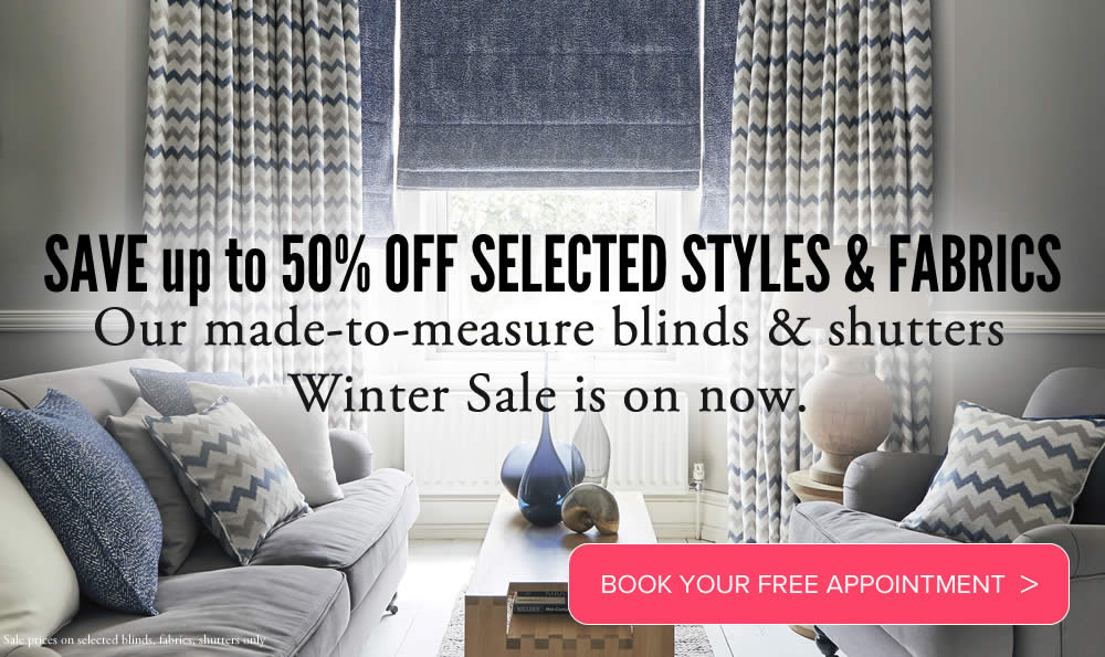 Image of Made to measure roman blinds and curtains in winter sale promotion