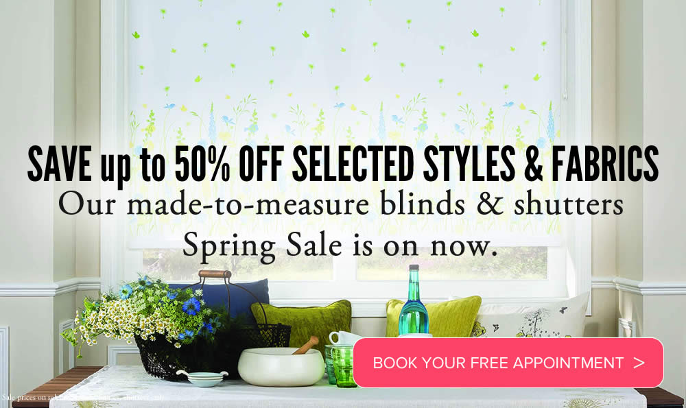 Image of Made to measure roman blinds and curtains in spring sale promotion